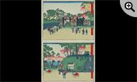 古今東京名所(上)上野黒門口(下)上野公園地石坂